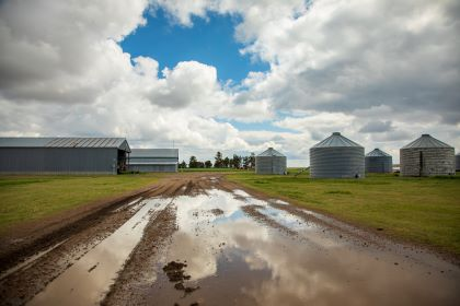 The Kansas State University Northwest Research-Extension Center after a recent rainstorm.