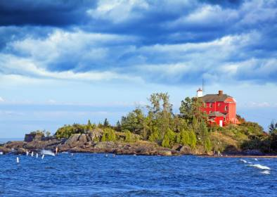 Lighthouse along the shores of Lake Superior in Marquette, Michigan.