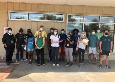 Volunteers from Jackson State University and 2C Mississippi getting ready to measure urban heat islands in Jackson, August 2020