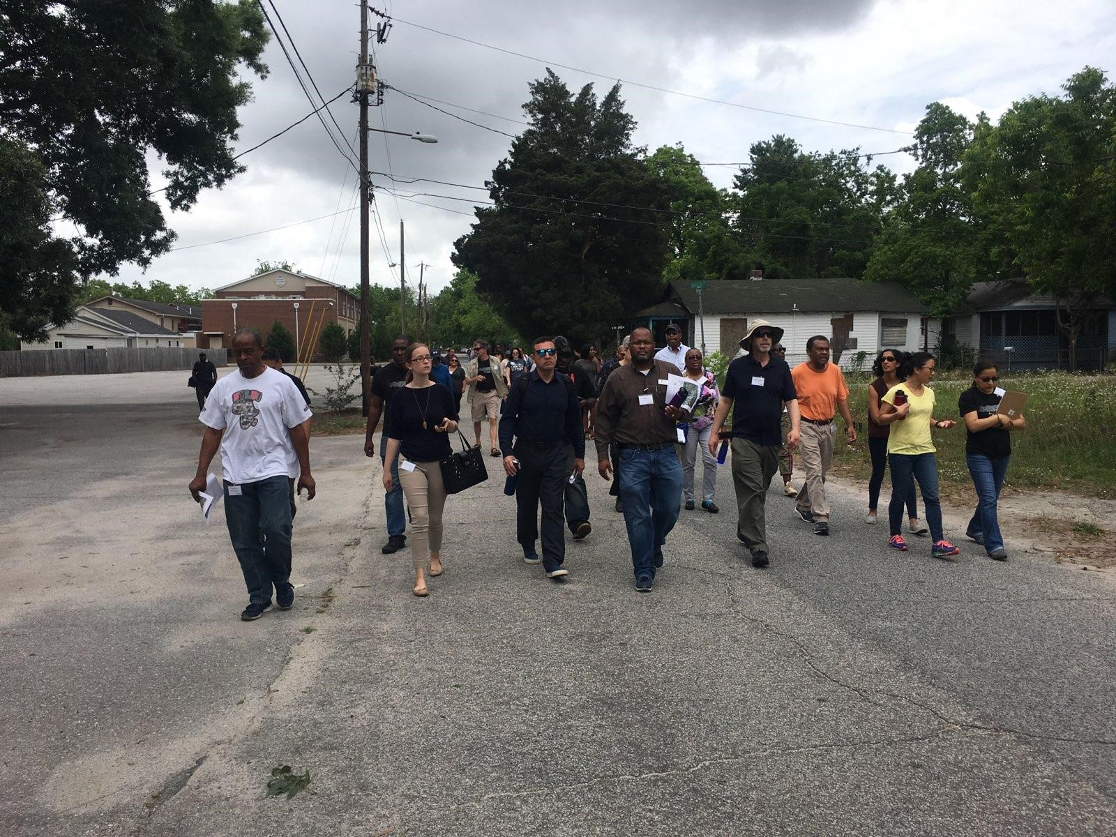 Omar Muhammad leading an Environmental Justice tour of Liberty Hill