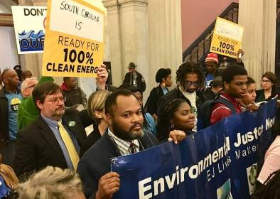 Omar Muhammad and other environmental activists and advocates at the South Carolina State House. Credit: LAMC